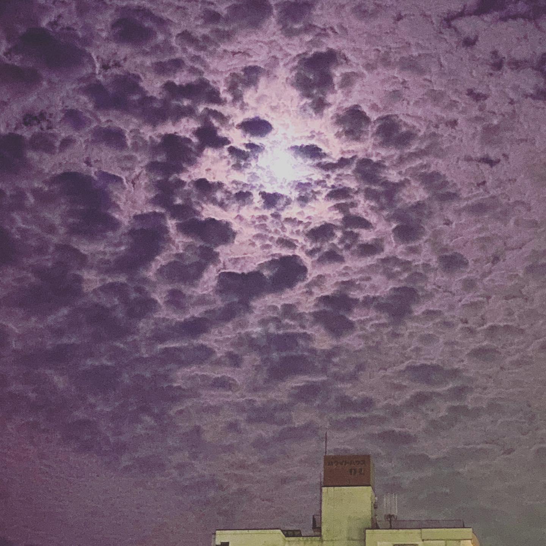 自然は美しいな…朝方みたいな明るい夜空雲のモアレ模様が美しく夜明けでもないのに薄い赤紫に輝いていて…今夜は月が脇役です(笑)ありがとう元気でたぞ♪#カフェバー #Cafebar#心地よい空間#金沢片町 #片町バー#楽しいひと時#CafeBAR_Le_temps#カフェバー_るたん#おひとり様でも #るたん#犀川沿いの夜景#景色が良い #安らぐ空間#お酒と音楽が楽しめる#歌えるカフェバー#カラオケ #大人の癒し#静岡出身です#猫好きです#犀川河川敷#夜空が綺麗#雲のビロード#雲のモアレ模様#自然は美しいな#悪い事ばかりじゃない